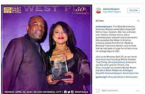 On April 28, 2008, playwright Velina Hasu Houston received the Made in America Visionary Award at the 42nd Anniversary East West Players Visionary Awards. Former 'Reading Rainbow' host Levar Burton, who presented Houston with the award, shared that he had been a huge fan of hers since his college days at USC. Credit: East West Players/Instagram