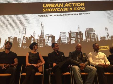 Taimak, Lia Chang, Vincent Lyn, Robert Samuels and Kinyumba Muttakabbir at The Urban Action Showcase & Expo's premiere screening of Owen Ratliff's BLACK SALT at HBO in New York on April 27, 2016. Photo courtesy of Vincent Lyn