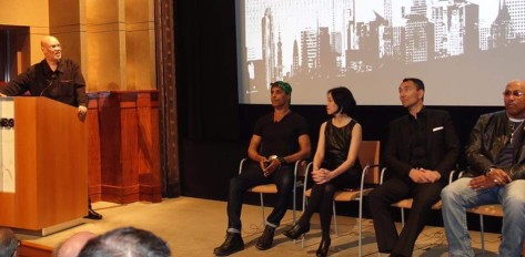Warrington Hudlin moderating panel discussion at HBO in New York on April 27, 2016. Photo courtesy of Warrington Hudlin