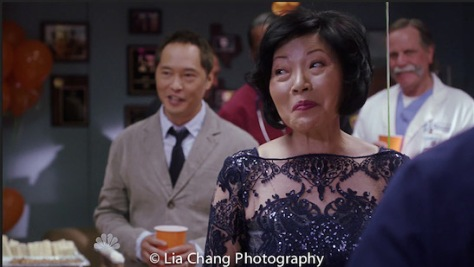 """(l-r) Ken Leung as Topher Zia and Elizabeth Sung as Sumei Zia on NBC's """"The Night Shift""""."""
