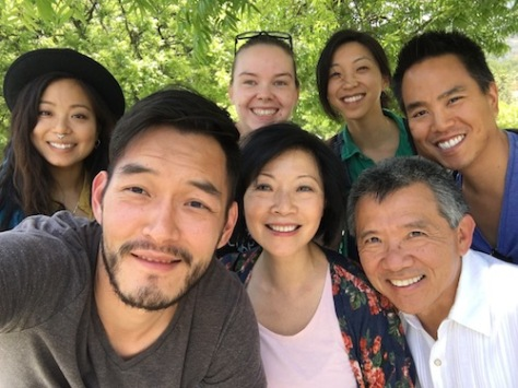From the set of FOR IZZY (l-r) Director of Photography Irvin Liu, Michelle Ang, Elizabeth Sung, production manager Tash Ann, Jenny Soo, director/writer/producer Alex Chu and Jim Lau. Photo courtesy of Elizabeth Sung