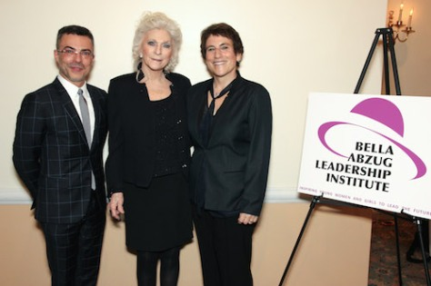 BALI honorees PRISA's Marcus Vinicius Ribeiro and Judy Collins with Liz Abzug, CEO of the Bella Abzug Leadership Institute (BALI) at the 10 year anniversary celebration at the Princeton Club in New York on April 12, 2016. Photo by Lia Chang