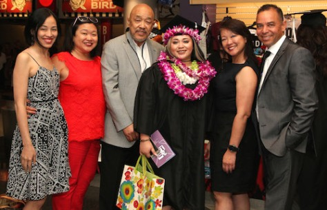 Lia Chang, Marissa Chang-Flores, Russell Chang, Asia Flores, Tami Chang and Carlos Flores at the 2016 FIDM Graduation at the STAPLES Center in LA on June 20, 2016. Photo by Lia Chang