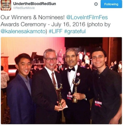Kyler Sakamoto, Tim Savage, Chris Tashima Kalama Epstein at the Love International Film Festival Awards Gala at the historic Wilshire Ebell Theater in Los Angeles on July 16, 2016. Photo by Kalene Sakamoto.