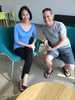 Lia Chang and Garth Kravits during Facebook live interview. Photo by Geoffrey Guerrero
