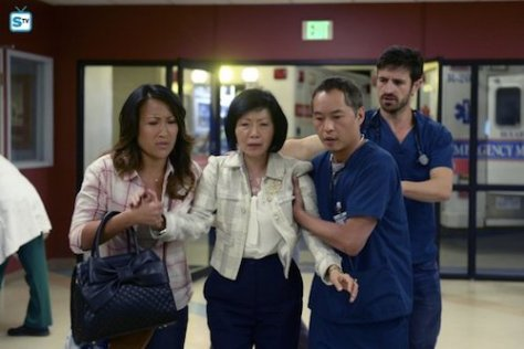 "THE NIGHT SHIFT -- ""All In"" Episode 308 -- Pictured: (l-r) Tina Huang as Janet, Elizabeth Sung as Sumei Zia, Ken Leung as Dr. Topher Zia, Eoin Macken as Dr. TC Callahan -- (Photo by: Ursula Coyote/NBC)"