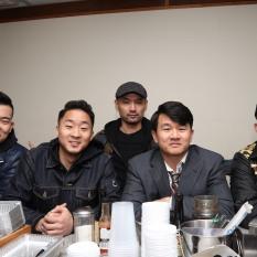 Visitors to the set- John Xu, Andrew J. Fung, Adam J. Lim, Ronny Chieng and David B. Fung. Photo by Lia Chang
