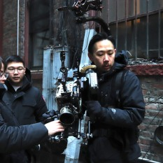 Cinematographer Jason Chew is lock and steady with his crew. (L-R) Bruna Lacerda, Brandon Lee, Jason Chew. Photo by Lia Chang