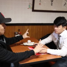 Patrick Chen and Ronny Chieng on location at Hop Kee in New York Chinatown. Photo by Lia Chang