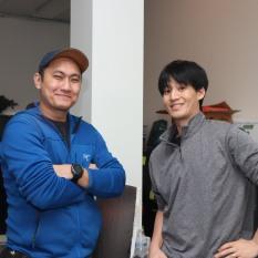 Monoj Gurung (gaffer) and Jason H. Kim (key grip). Photo by Lia Chang