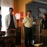 (L-R): Tony Chung as Dennis Song, Jon Prasida as Ryan Shen, Tzi Ma as Jin Shen, Olivia Liang as Nicky Shen and Shannon Dang as Althea Shen in KUNG FU. Photo: Katie Yu/The CW -- © 2021 The CW Network, LLC. All Rights Reserved